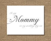 To My Mommy On My Wedding Day Eve Card | Specifically Named Wedding Thank You's | Blank Wedding Cards | Beautiful Handwritten Look | Vintage