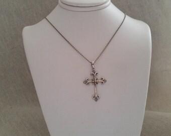 Vintage sterling diamond cross pendant