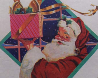 1 Sheet Vintage Santa Claus Christmas Gift Wrapping Paper