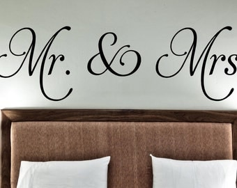 Mr. & Mrs -Vinyl Lettering wall decals words wedding gift family friends decal graphics sticker love bedroom Home decor itswritteninvinyl