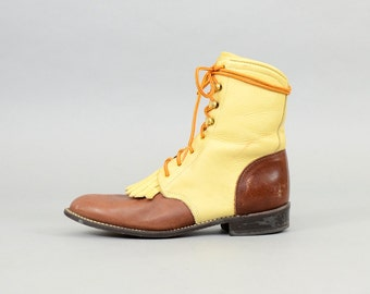 Leather Lace-up Boots (US 8.5)