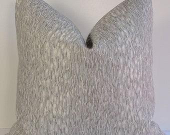Jeffrey Alan Marks for Kravet Designer gray pillow cover, Chromis in Metal Softened Linen Decorative pillow gray animal print throw pillow