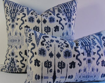 Indigo Blue navy Ikat Mumbai throw Decorative pillow cover, Designer Euro Sham, lumbars, and squares both sides, accent pillow