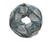 INFINITY SCARF - Screen Printed - Gray Double Flowers on Ocean