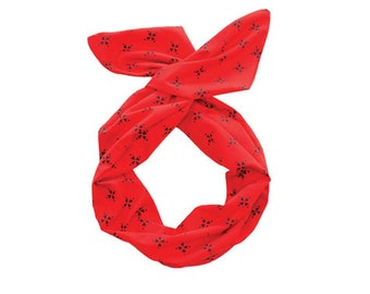 Twist Hair Scarf - Screen-printed Wire Headband - Navy Compass on Red