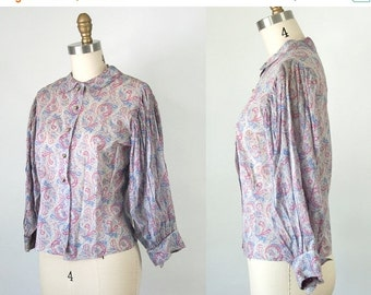 SALE 1930s Vintage Paisley Button Down Blouse (XS Petite)