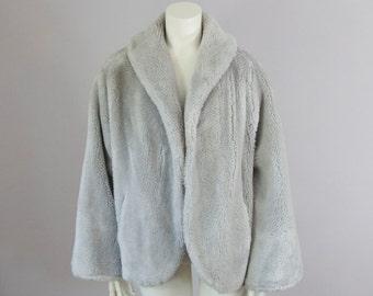 50s Vintage Silver Grey Faux Fur Winter Coat. Faux Fur Jacket (S)