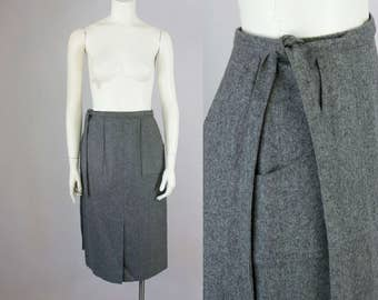 "70s Vintage Grey Wool High Waist Wrap Midi Skirt (M, L; 30"" Waist)"