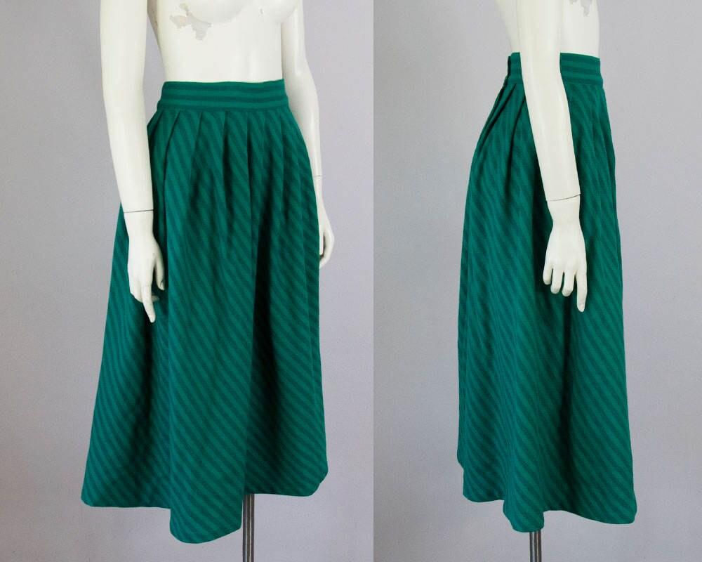 50s Vintage Diagonal Stripe Wool Pleated Skirt. High Waist Midi ...