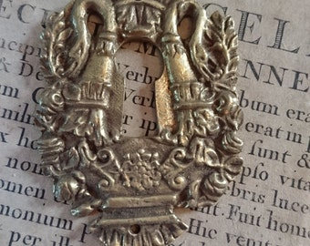 Beautiful antique French ormolu escutcheon keyhole with Empire style swans c1880 BELLE BROCANTE