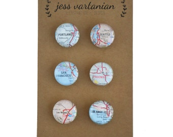 READY TO SHIP! West Coast of the United States Map Magnets