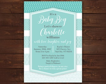 Blue Ombre Invitation, Baby Boy Invitation, Digital Invitation, Blue Patterns, Printable Baby Shower or Birthday Invitation -- Any Color