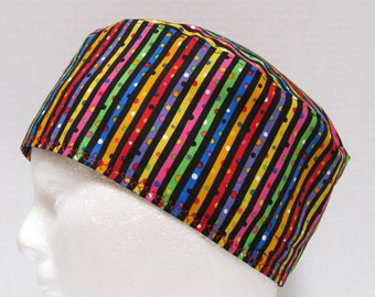 Scrub Hat Mens in Bright Rainbow Stripes on Black