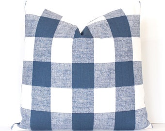 Navy Blue Check Designer Pillow Cover Accent Throw Cushion tartan modern farmhouse country cabin rustic holiday plaid gingham