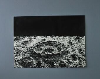 Large Crater SilkScreen Poster, Moon Crater