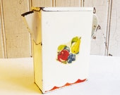 Vintage Red and White Tin Metal Laundry Soap Flakes Dispenser Pitcher - 1940s or 1950s