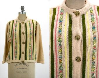Vintage 1950's Cream Colored Rhinestone Ribbon Sweater Women's Size Medium Made in California Retro/Preppy/Feminine