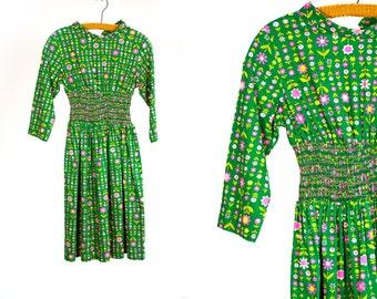 Vintage 1960's Emerald Green & Neon Flower Elastic Waist Dress Knee Length Mod/Retro/Hippie/Boho Women's Size XS SM Cotton Summer Floral Vtg