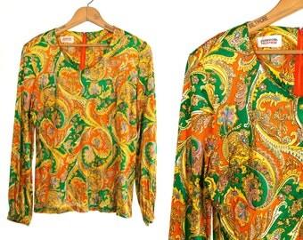 Vintage 1960's Junior House Psychedelic Paisley Print Neon Long Sleeved Shirt/Blouse Retro Bohemian Hipster Size Medium Vtg Vg DISCO