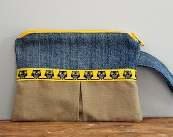 Upcycled Denim Owl Zippered Wristlet