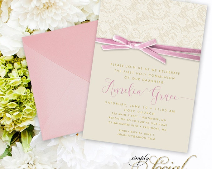 Pink First Holy Communion Invitation - Baptism Invitation Calligraphy Personalized Pink Ribbon Pink Velvet Lace Printable Party Invite