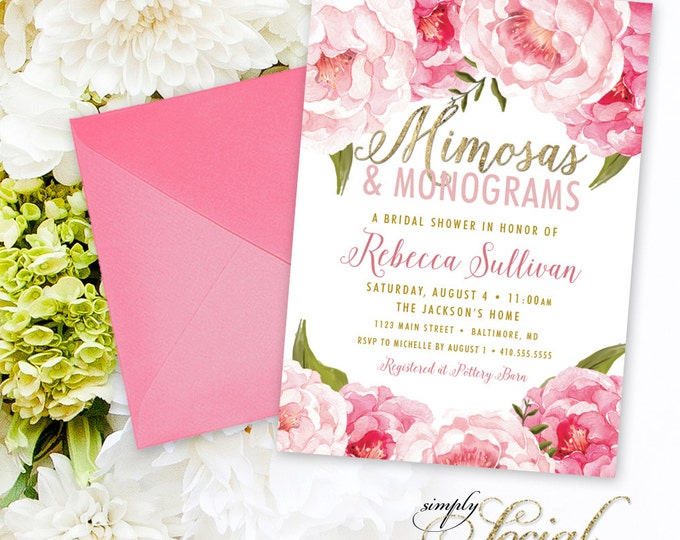 Mimosas and Monograms Bridal Shower Invitation - Floral Peony Blush Faux Gold Foil Boho Pink Watercolor Botanical Printable Party Invite