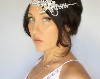 Rhinestone Bridal headpiece, wedding tiara, headband, wedding accessory by DeLoop