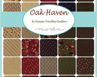 """Moda Oak Haven Charm Pack, (42) 5"""" Quilt Fabric Squares by Kansas Troubles Quilting Sewing"""