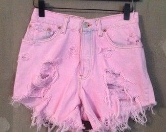 70% OFF CLOSING SALE Vintage 1990s High Waist Pink Denim Studded Cut Offs Levis Runawaydreamz S 7M (d)