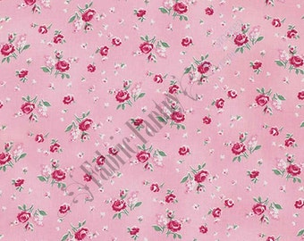 Shabby Baby Rosebud on Pink Billet-Doux Quilt Fabric by Verna Mosquera for Free Spirit ~ PWVM 103 ~ 1/2 Yard