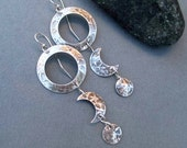 Sterling Silver Crescent Moon Goddess Earrings Sterling Silver Statement Earrings Phases of the Moon Long Dangle Earrings Handmade Jewelry