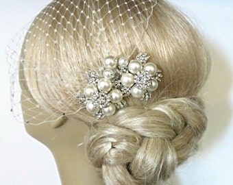 Bridal Pearls Hair Comb and a Wedding Bridal Birdcage Veil bridal veil Bridal Headpiece Blusher Bird Cage Veil accessories Wedding comb