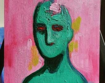 Original Painting- Alien I - Green Alien on pink background