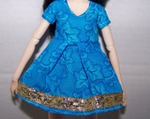 Pullip clothes - short blue dress with gold trim