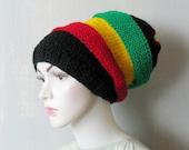 Slouchy Beanie Mens Womens Slouch Beanie Rasta Hat Black Red Yellow Green