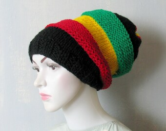 Slouchy Beanie Mens Womens Slouch Beanie Rasta Hat Black Red Yellow Green