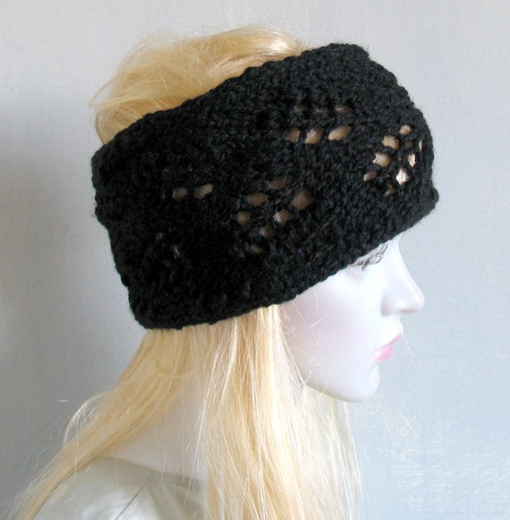 Hand Knitted Headbands Patterns : Lace knit headband knitted headband headband hand by recyclingroom