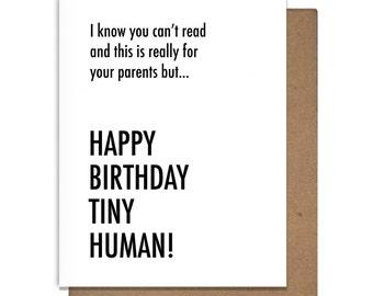 Tiny Human Funny Baby Birthday Letterpress Greeting Card Snarky Witty