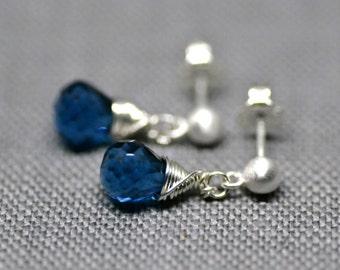 blue hydroquartz drop stud earrings