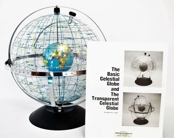 Gorgeous Trippensee Transparent Celestial Globe Original Box, Reference Materials NOS