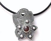 ON SALE Red Garnet silver necklace, Merlot fairy pendant, Fowers paisley silver pendant