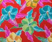 Lycra Print Fabric Remnant Hawaiian Hibiscus Floral Print Lycra Swimwear Dance Wear Fabric Crafts Sewing Y15