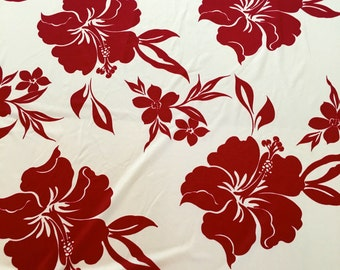 Lycra Fabric Remnant Hawaiian Hibiscus Floral Print Lycra Spandex 4 Way Stretch Swimwear Fabric Dance Wear Sportswear Crafts Sewing Y20