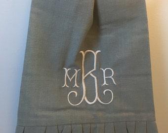 Monogrammed Ruffled Hand Towel