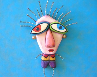Cousin Todd, Original Found Object Wall Sculpture, Wood Carving, Wall Decor, by Fig Jam Studio
