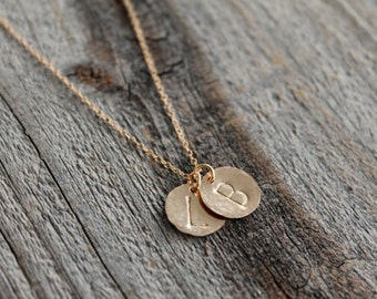 3 Delicate Disc Initial Necklace, Silver Gold Letter Necklace, Gold Necklace, Bridesmaid Gift, Dainty Monogram Charm
