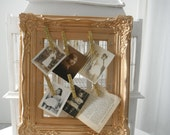 ornate frame picture frame metallic gold note holder photo holder card holder gold pegs shabby chic french country painted frame paris