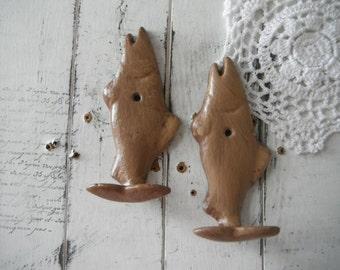 nautical hook fish hook wall hook ONE PAIR aged brown hook beach house bathroom hook towel hook clothing hook children room decor coat hook