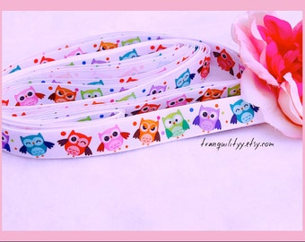 "Owl Ribbon , 7/8"" Grosgrain Cute Owl Ribbon, Hair Bows, Hair Clips , By: tranquilityy"