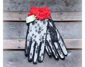 1980s black & red lace costume gloves - ruffled wrist / Valentine's Day - gothic lolita / Van Raalte - new old vintage stock - kawaii